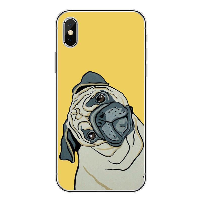 Cute Pug dog Cat Phone Case Cover For iPhone 8plus 7 5 5s SE 5c 6 6S 6Plus 6sPlus Coque Soft Clear TPU Shell Animal Design Funda