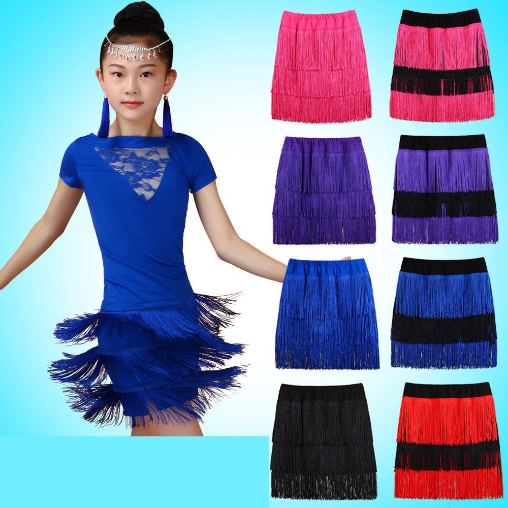 e5fc55c5fad0 Children Latin Dance Clothes More Color Tassel Skirt Kids Ballroom ...