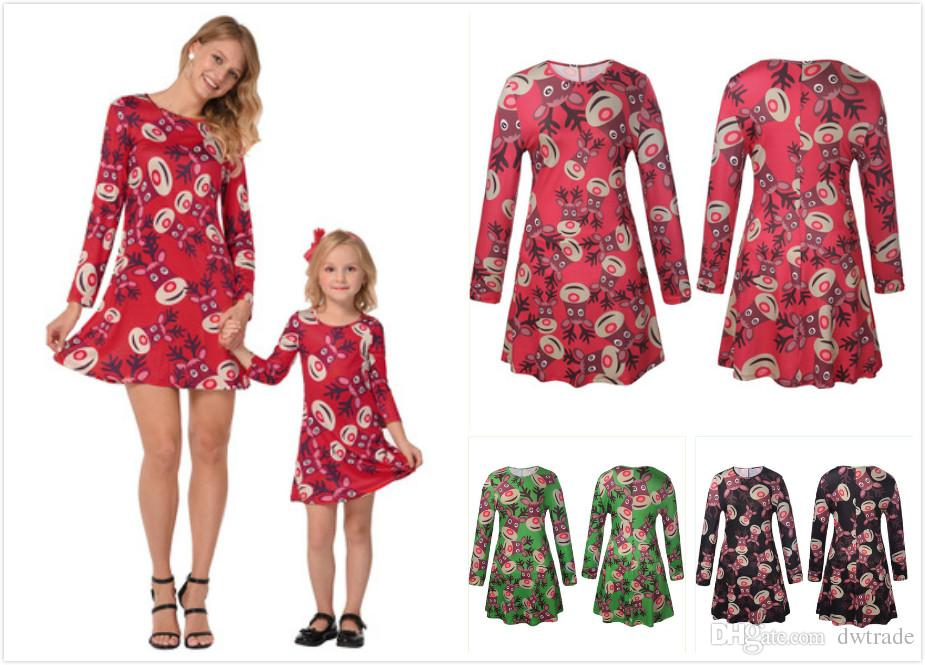 7841ac7cee647 2018 mommy and me christmas elk full printing long sleeved dress family matching  outfits mother daughter