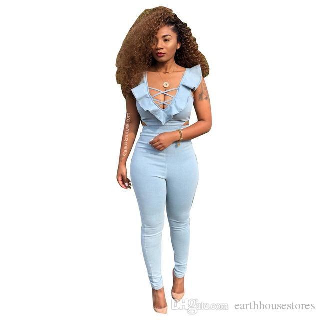 3c731e842d94 Women skinny sexy bodysuit sleeveless ruched rompers women jumpsuit full  length body mujer