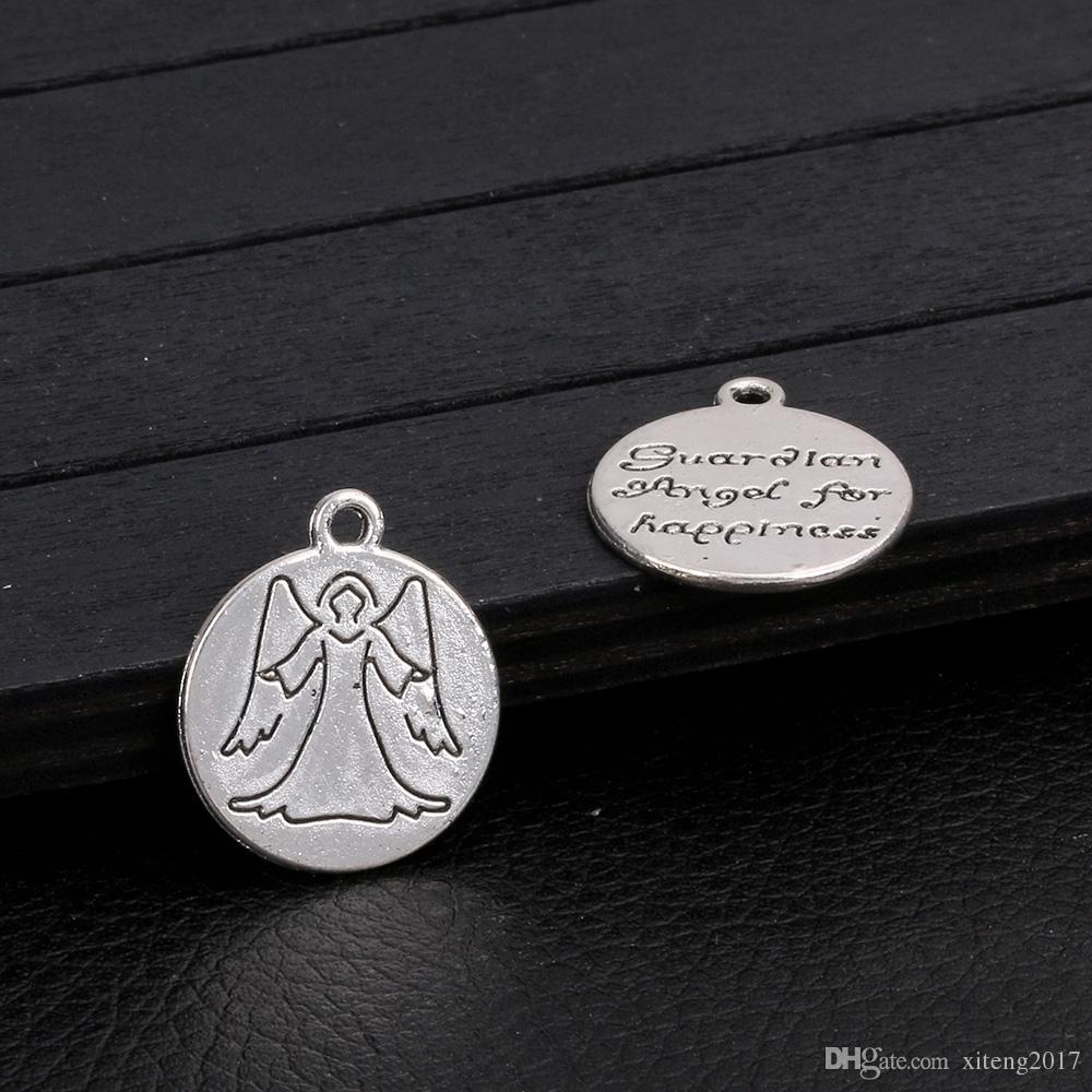Nueva Moda 18mm Angel Charms Guardian Angel Wings Antique Making Colgante Fit Vintage Plata Tibetana DIY Pulsera Collar de La Joyería Que Hace