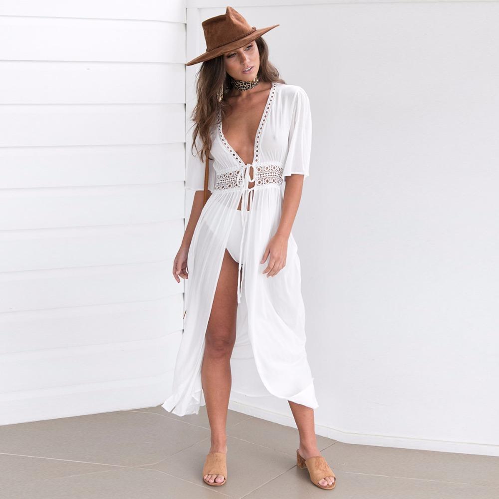4ce18b31d8 White Solid Maxi Kimono Woman's Fashion Summer 2017 Sexy Tops Half Sleeve  Belted Long beach Kimono Summer Kimonos Beachwear 2017