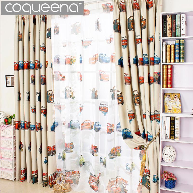 Cartoon Car Curtains for Living Room Boys Bedroom Kids Room Nursery  Children Blackout Curtain Drapes Window Panel Beige Cream