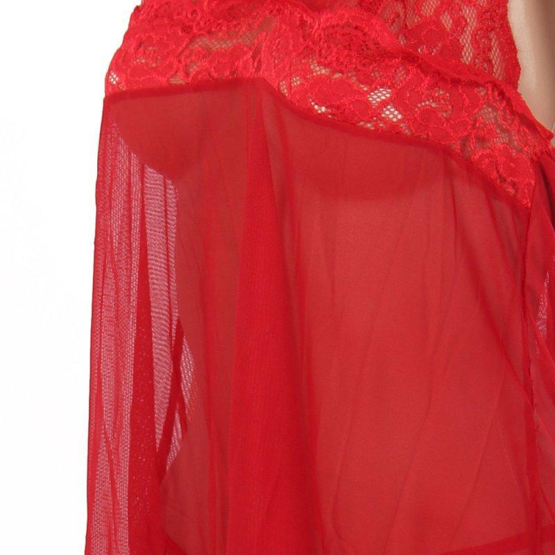 Plus Size das Mulheres Sexy Lingerie Vestido de Renda Underwear Babydoll Sleepwear + G-string Novo