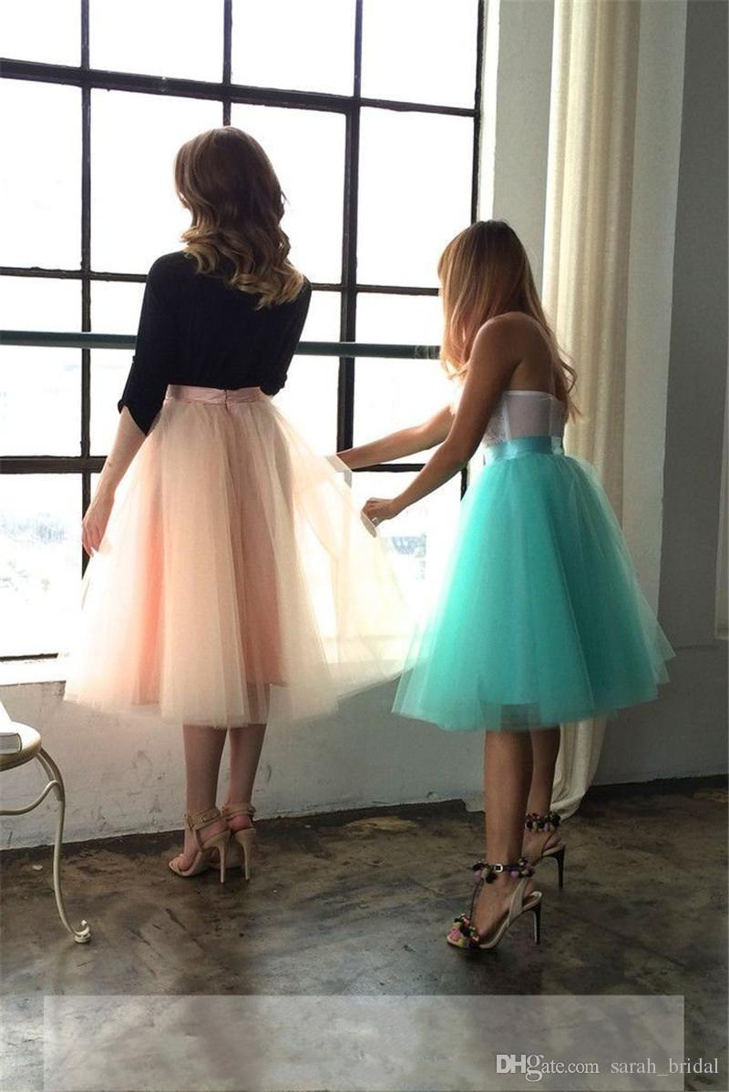 2020 Summer Beach Tutu Skirt Bridesmaid Country Wedding Short Length Blue Coral 5 Layers Cheap Wedding Bridal Adult Tutus Skirt For Women