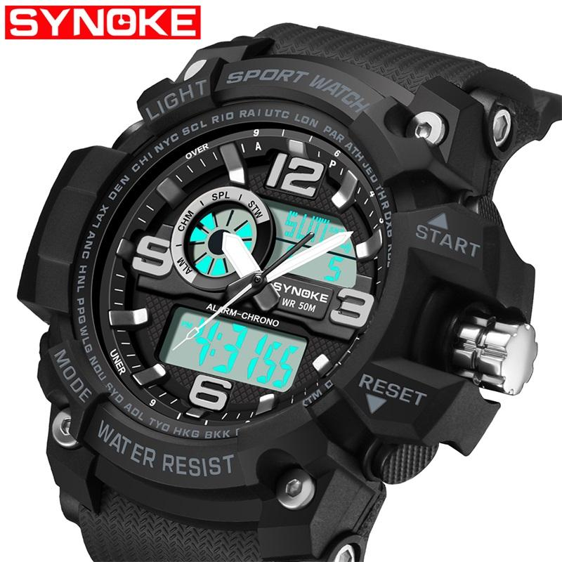 SYNOKE Fashion Sports G Style Digital-watch Mens Shock Camouflage Military Army Wristwatches LED Electronic Wrist Watches for Men 9403