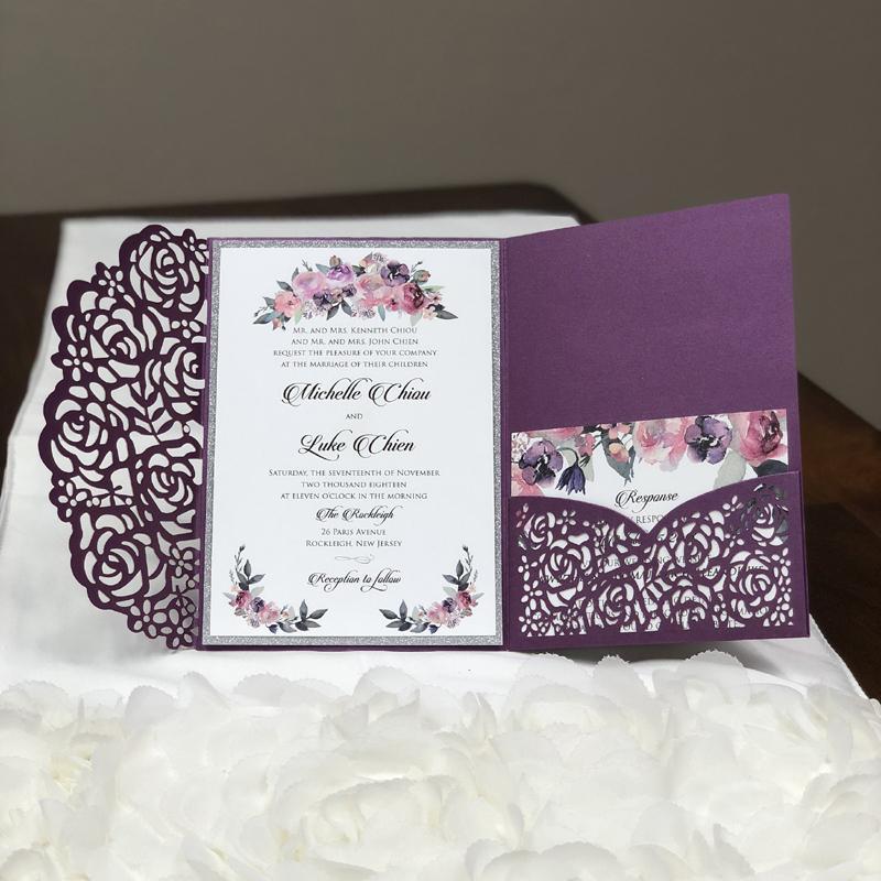 Silver And Purple Wedding Invitations: Luxury Silver Glitter Purple Pocket Wedding Invites, 2019