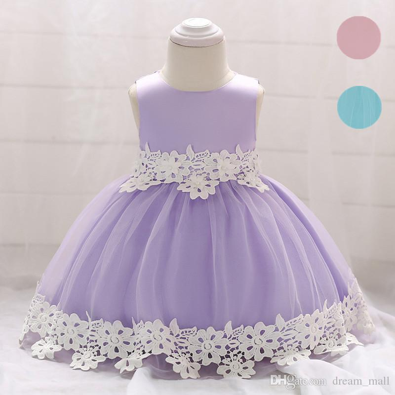 Newborn Baby Lace Flower Girl Dress Toddler Birthday Prom Party Tutu Gown Kids Clothes