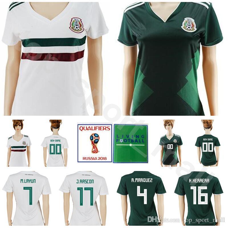 Mujeres México Jersey Hombres Fútbol 19 Peralta 18 Guardado 22 Lozano 10  Santos Dama Camiseta Fútbol Kits México 2018 Copa Del Mundo 14 J. Hernandez  Por ... 18c2bcf53b8d7