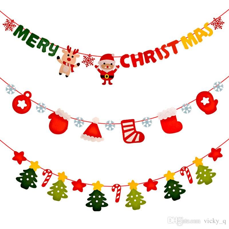Cute Cartoon Santas Christmas Non Woven Banner Garland Decoration For Christmas Patry Wall Window Flag Photo Shoot Gifts For Funny People Gifts For
