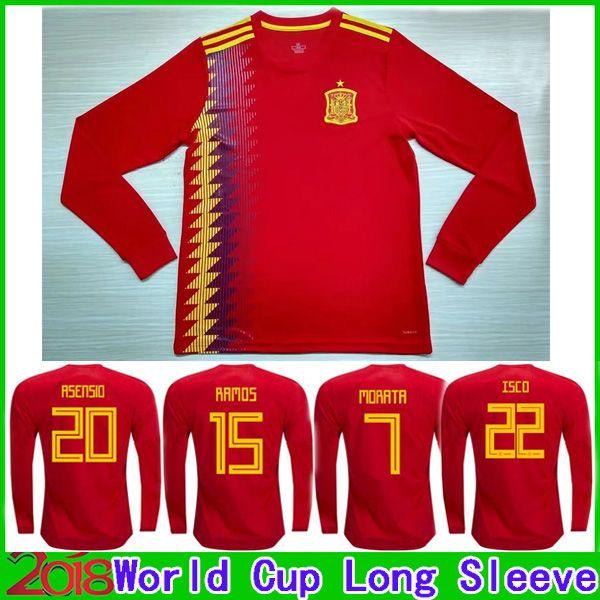 Manga Larga 2018 España Camisetas De Fútbol De La Copa Asensio Isco Ramos  Morata 18 2019 España Camisetas Silva Pique A.Iniesta Camisetas De Fútbol  Completa ... aae56c1de6ea5