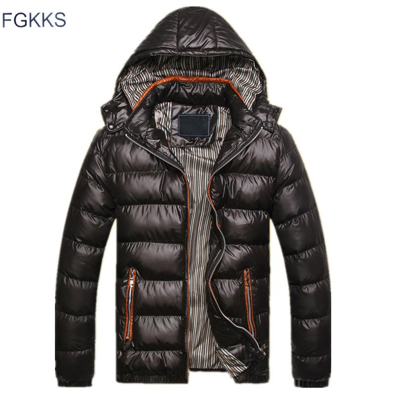 FGKKS New Men Winter Jacket Fashion Hooded Thermal Down Cotton Parkas Male Casual Hoodies  Clothing Warm Coat