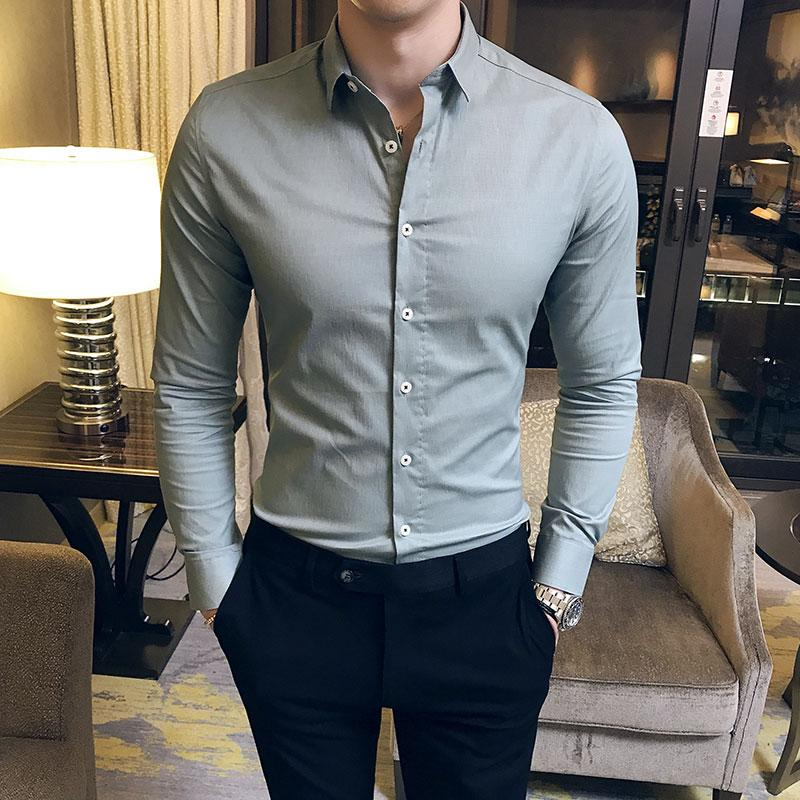 a3ff6d69cbc91 British Style Men Shirt Brand New Slim Fit Solid Formal Wear Shirts Dress  Mens Long Sleeve Business Work Shirt For Men Clothes