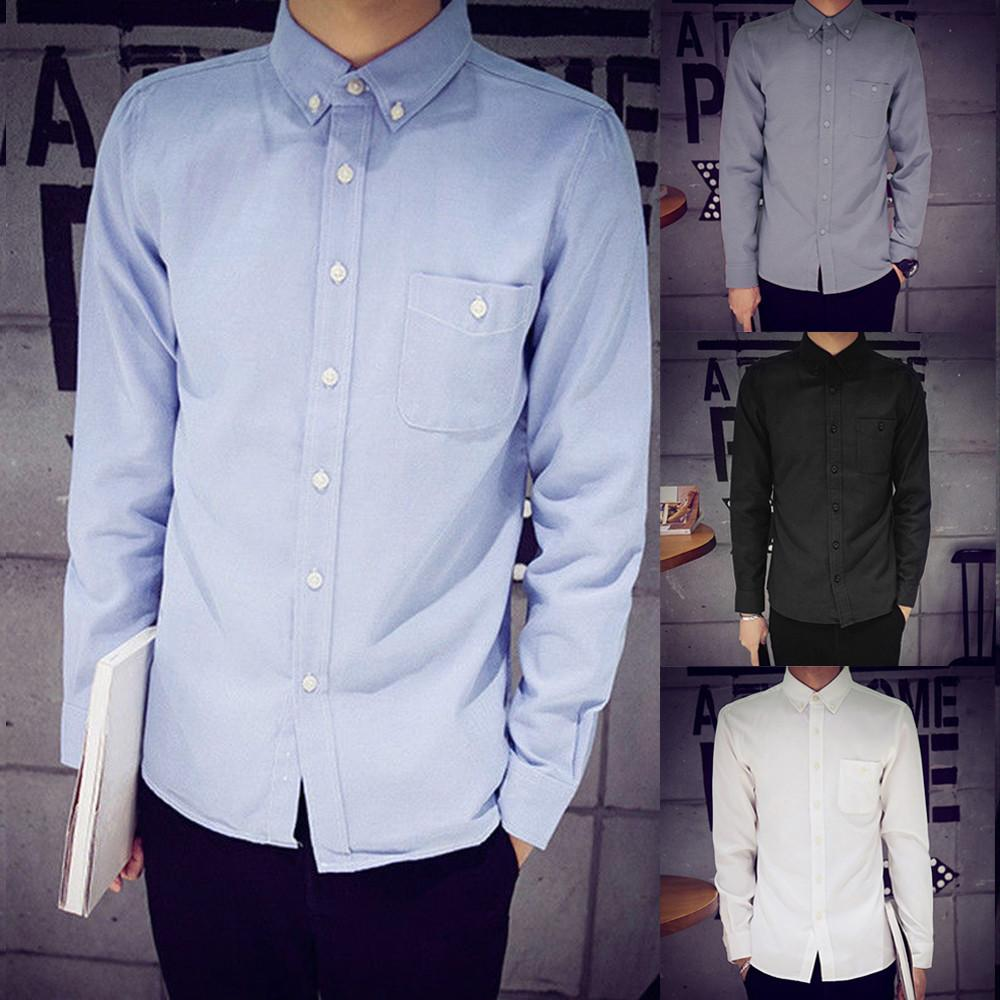 2019 Mens Long Sleeve Solid Oxford Dress Shirt With Chest Pocket
