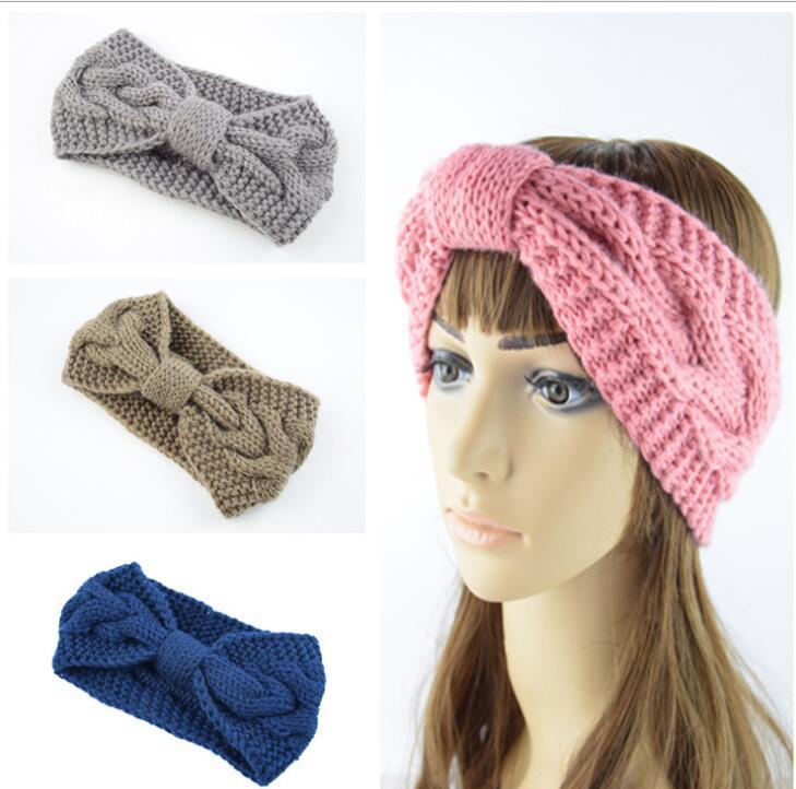 Großhandel 8 Farbe Frauen Winter Stirnband Stricken Wolle Mädchen