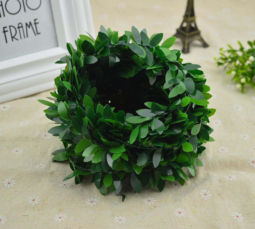 100CM/lot Silk Green leaf fake plastic Iron rattan christmas wreath decor for home wedding diy garland gifts artificial flowers