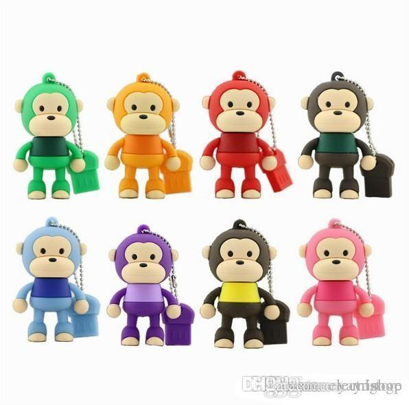 Fantastic Bravo USB Flash Drive Monkey Model U Stick 64G 32G 16G 8G 4G Pendrive USB 2.0 Wholesales Pen Drive Memory Flash Drive U Disk U100