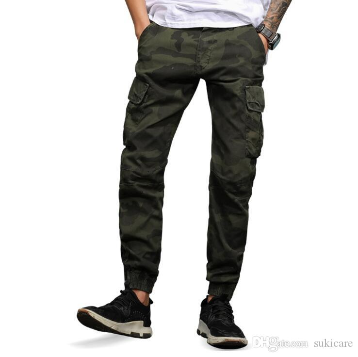 5a83219389f 2019 Mens Casual Pants Camoflage Cargo Pencil Pants Zipper Fly Combat Work PANTS  Plus Size From Sukicare