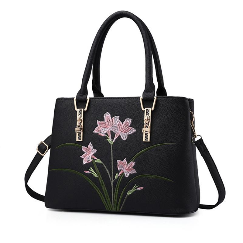 Best Designer Shoulder Women Embroidery Handbags 2018 New Fashion Female  Handbag Large Capacity Mommy Shoulder Bags Orchid Clutch Purse Cross Body  Purses ... b6c6f080c0146