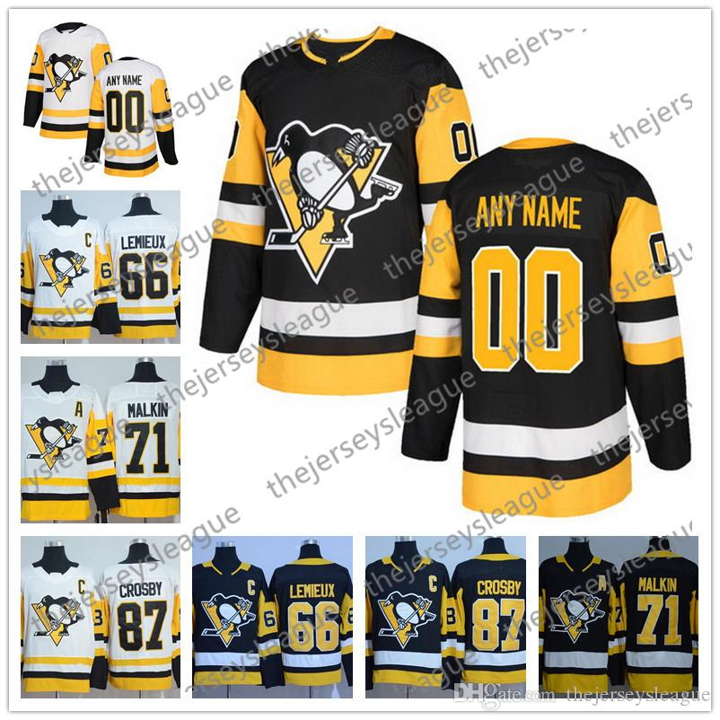buy online b1855 39a0e Custom Pittsburgh Penguins 2018 New Brand Stitched Any Number Any Name  Black Home White Crosby Malkin Guentzel Hockey Jerseys S-60