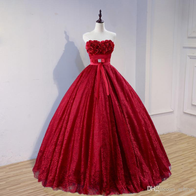 Real Designer Red Wedding Dresses Ball Gown 2018 Strapless Corset Lace Wedding Gowns Flowers Sash Floor Length Bride Dresses Custom Made