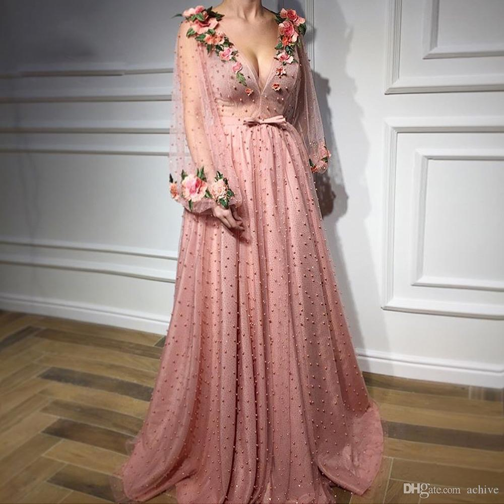 Compre Vintage Dusty Pink Long Prom Dresses 2018 Sexy V Neck Pearls ...