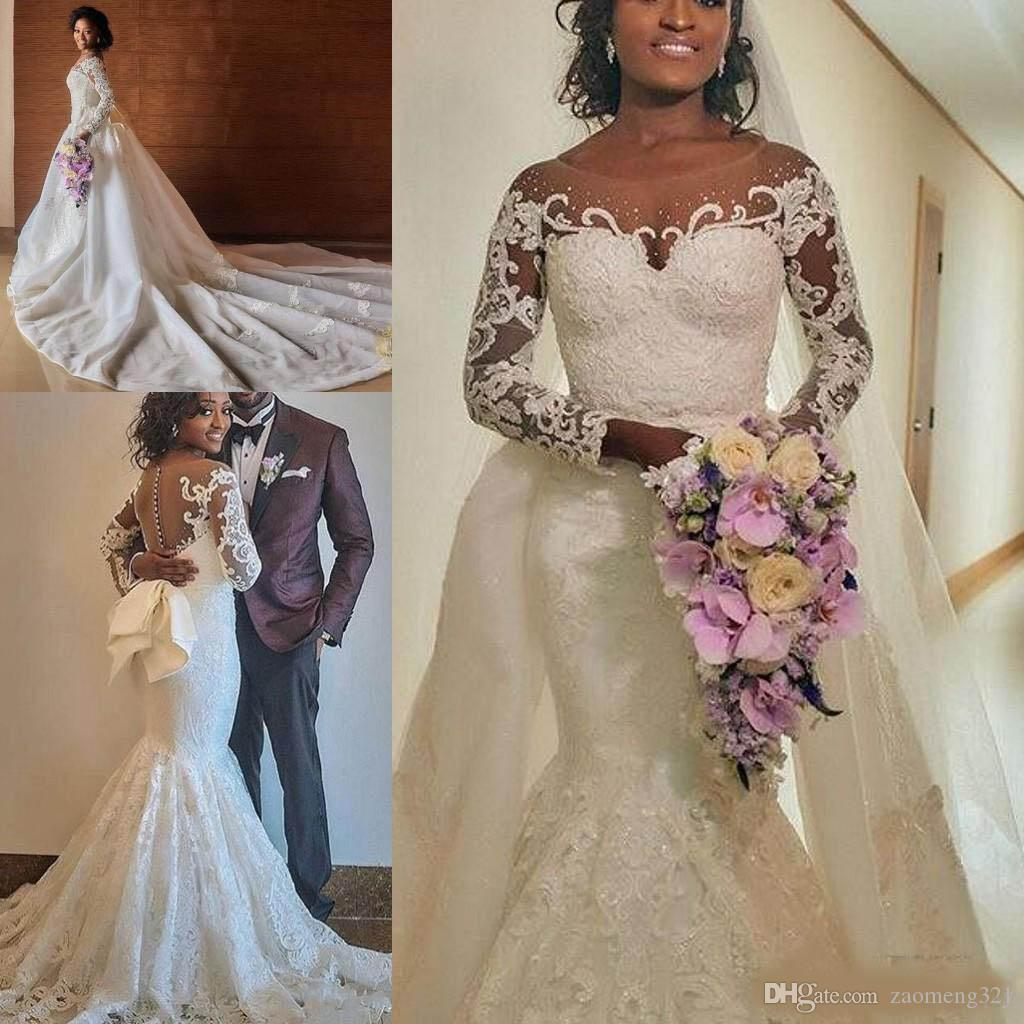 Plus Size Mermaid Wedding Dresses With Detachable Train 2019 Modest Big Bow  Long Sleeve Full Lace African Nigeria Trumpet Bridal Gown Wedding Dress Lace  ... 6a7ffea03a73