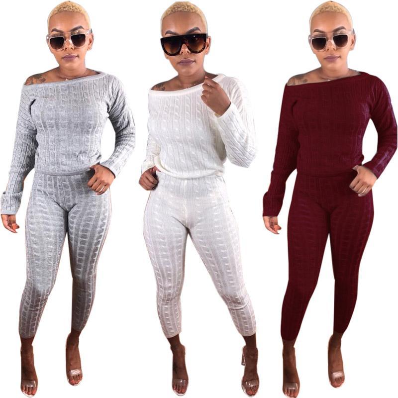 pretty nice e10cd a5c3a Pantaloni donna abiti invernali Street indossare lana sciolto a maniche  lunghe due pezzi Sexy senza spalline pantaloni a matita pantaloni vestito 4  ...