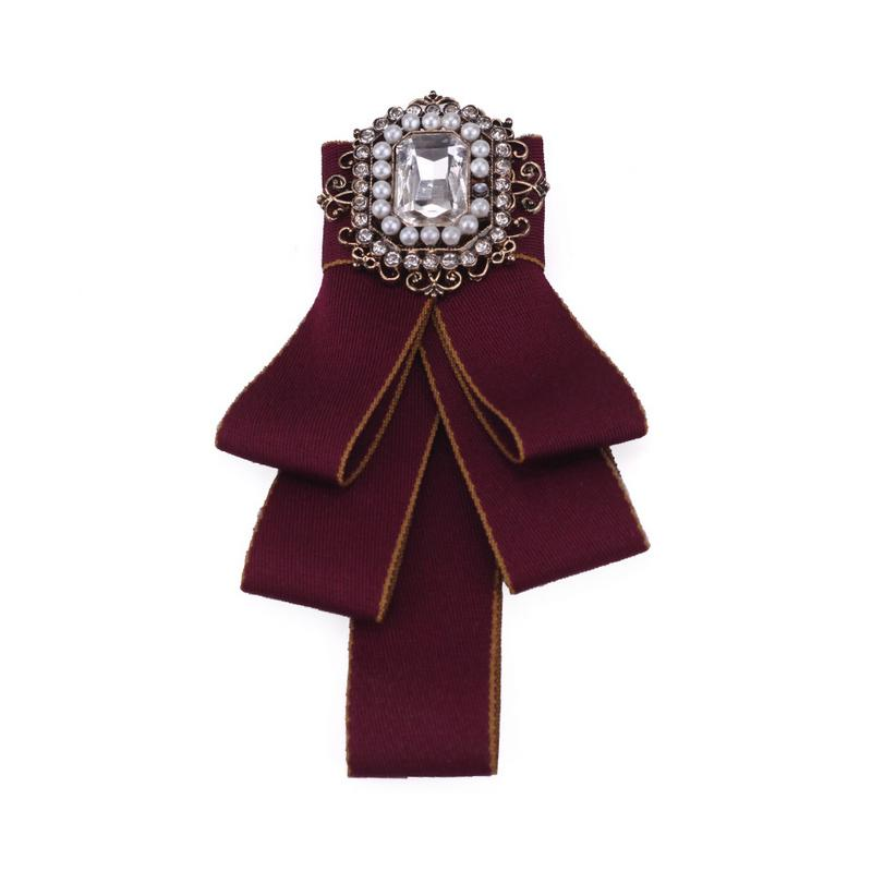 Women Brand Designer Bowknot Brooch Luxury Brand Rhinestone Suit Lapel Pin  Collar Bow Tie Jewelry Accessories for Gift Party