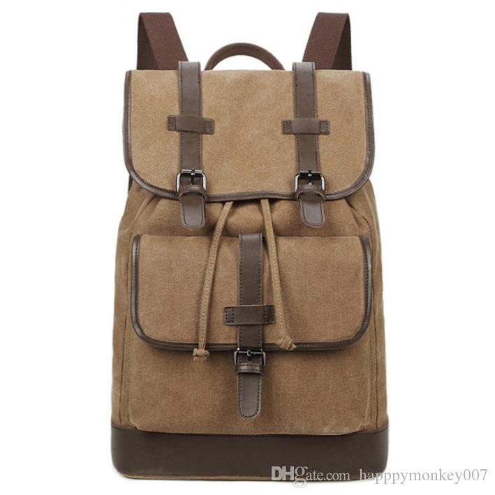 69418d07226d New European And American Large Capacity Canvas Backpack Multifunctional  Shoulder Canvas Men s Bag Outdoor Travel Bag Large Capacity Canvas Backpack  Online ...