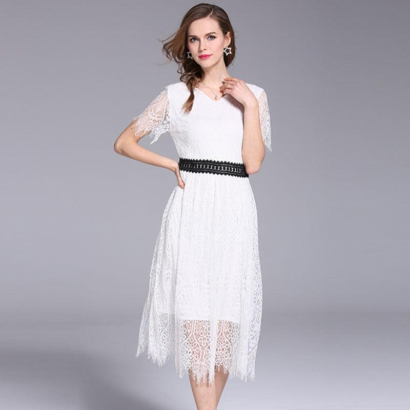2019 Summer Lace Dresses Slim Women Short Sleeve White Dresses ...
