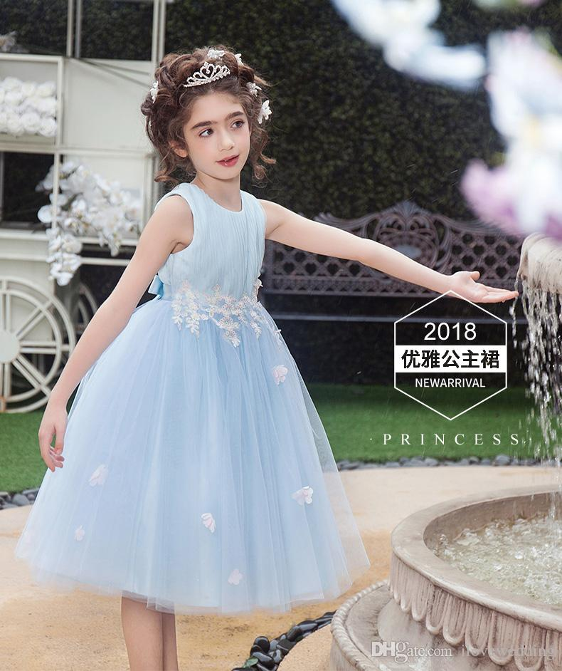 15fac317e Fairy Light Sky Blue 2018 Ball Gown Flower Girl Dresses A Line Little Child  Pageant Little Girl Dress Tulle Princess Girl Dresses Grey Flower Girl  Dresses ...