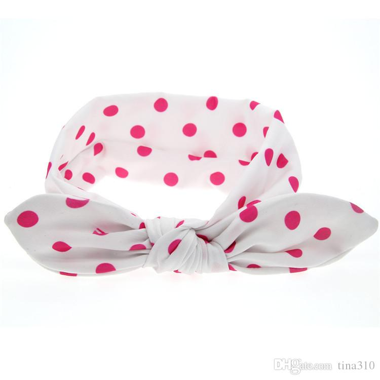 New lovely cartoon children soft hair band solid color hair headdress baby wave point pattern headband T3G0005