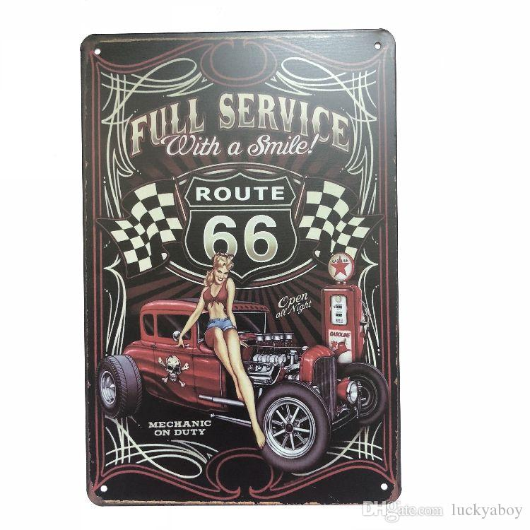 Full Service Route 66 Car Vintage Rustic Home Decor Bar Pub Hotel Restaurant Coffee Shop home Decorative Metal Retro Metal Tin Sign