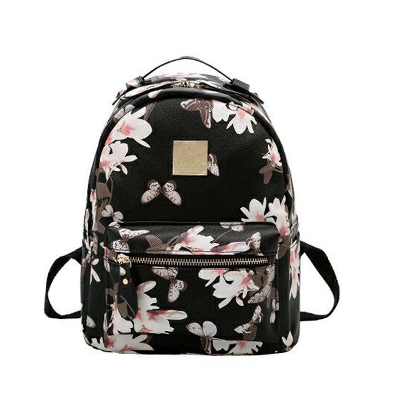 824f75d3058 Women Leather Backpack Flower Floral Backpacks For Teenage Girls Small Printing  Backpack Female Schoolbag Rucksacks For Girls Osprey Backpacks Book Bags ...