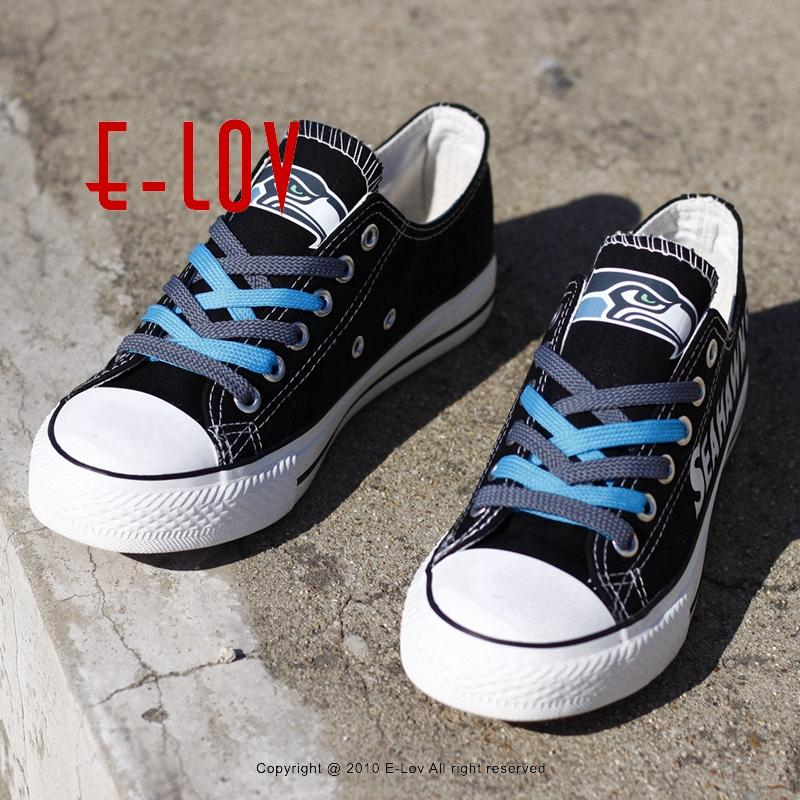 07695da56277fd So Cool Seattle Seahawks Logo Print Canvas Shoes USA Hot Fashion ...
