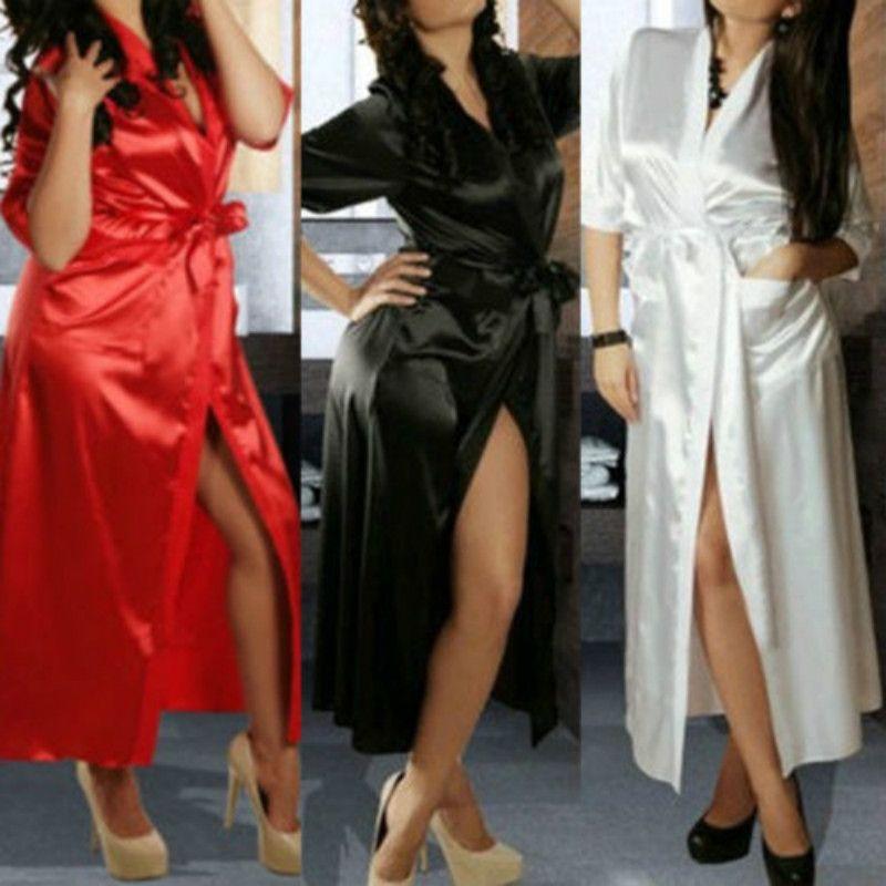 3b9ae0d674 2019 Sexy Women Luxury Nightdress Satin Lace Kimono Sleepwear Lingerie  Dressing Gown Robe Sleepwear From Xiayuhe