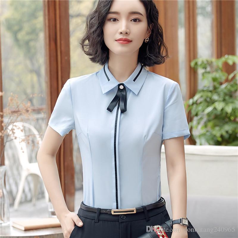 e31d07bc598 2019 Formal Fashion Shirt Female Short Sleeve Chiffon Blouse Clothing Women  Work Wear Summer OL Slim Office Ladies Plus Size Tops From Donnatang240965