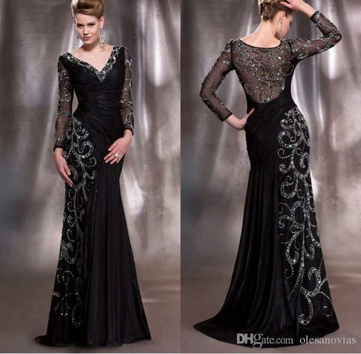 89b60d4e36f67 Satın Al Anne Gelin Elbiseler Zarif Siyah Ve Altın V Boyun Uzun Kollu  Mermaid Sequins Kristal Boncuk Şifon Dantelli Abiye Anneler, $155.78 |  DHgate.Com'da