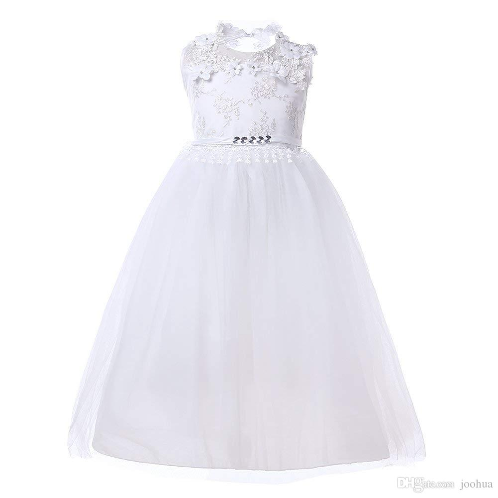 Flower Girls Cute New Brithday White Dress Wedding Princess Backless