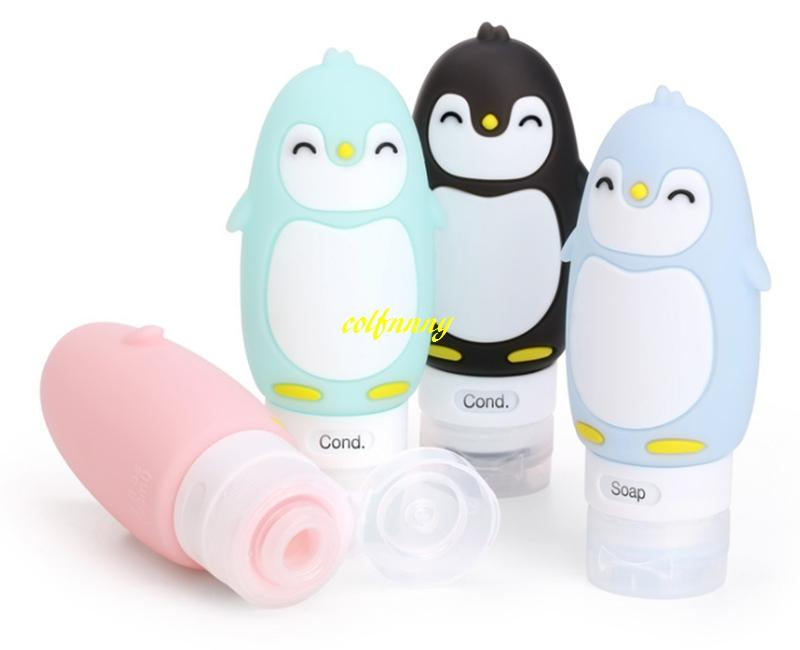 90ml Penguin Silicone Refillable Bottle creams Makeup Product Travel Tubes Lotion Points Shampoo bath Container