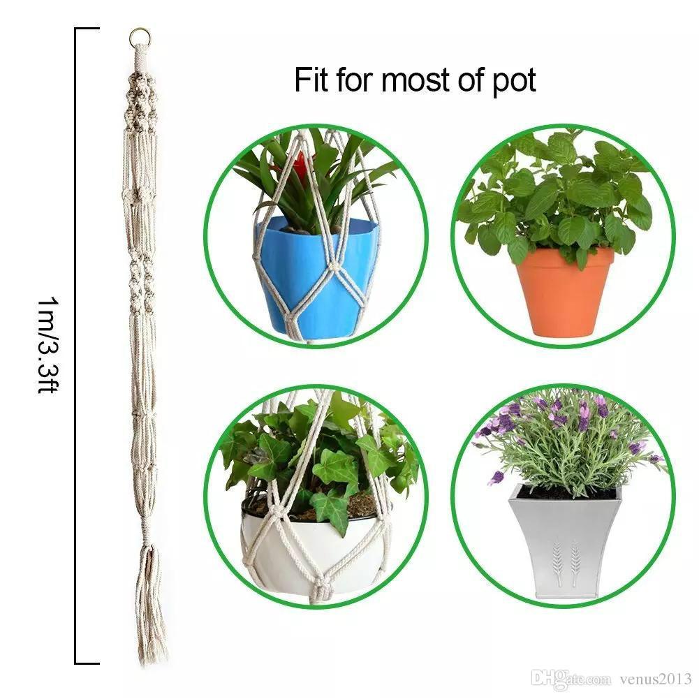 Macrame Plant Hanger Titulaire Intérieur Extérieur Suspendus Planteur Fleur Panier Pot Décoration de La Maison