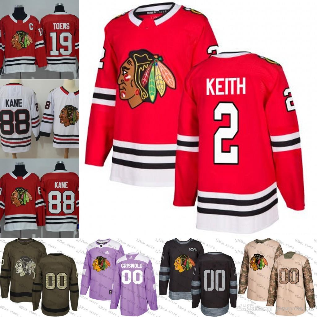 2019 2018 2019  2 Duncan Keith Chicago Blackhawks Ice Hockey Jersey Purple  Black White Army Green 100th Flat Usa Men Women Youth Size S 3XL From ... 05c9619cf