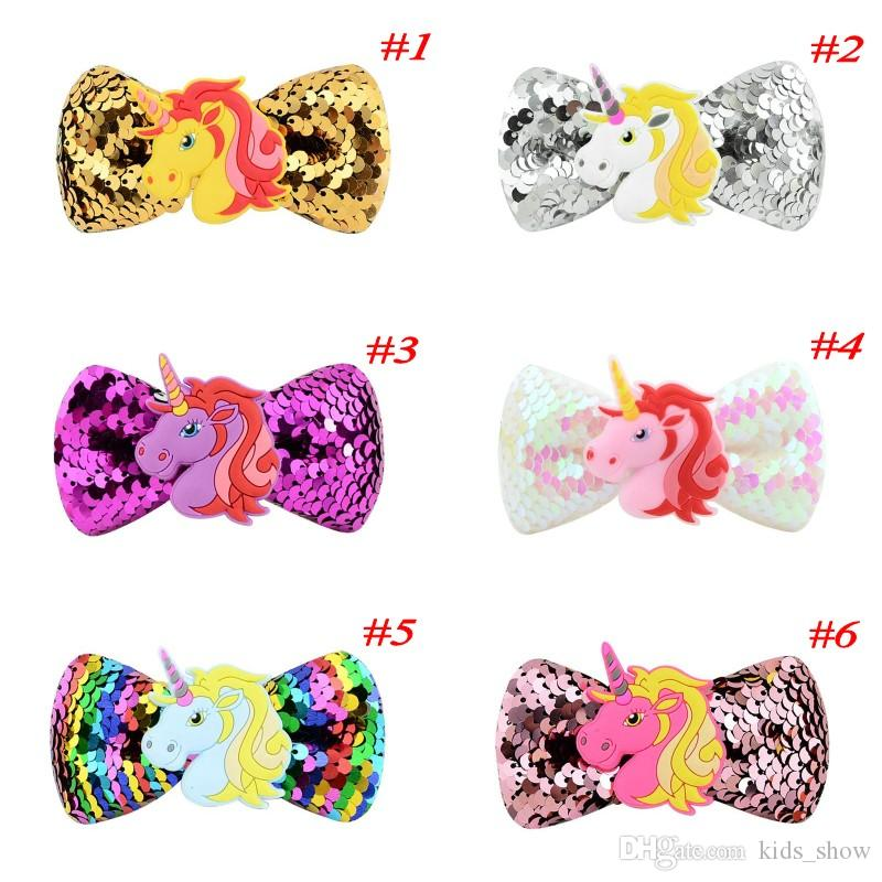Cartoon Unicorn Sequin Hair Clip Hairpins For Girls Kids Rainbow Bowknot Grosgrain Ribbon Barrettes Cute Baby Hair Accessories