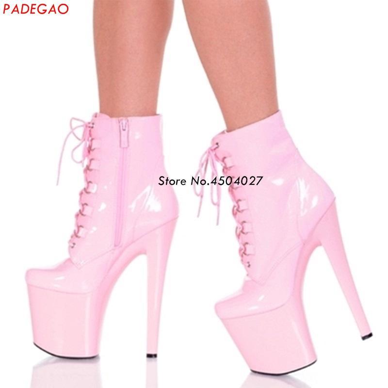 4df2e5cdd Compre Sexy 15 Cm   20 Cm Delgado Tacón Alto Club Nocturno Botas De Baile  Con Cordones Correa Cruzada Zapatos De Plataforma Mujeres Zipper Boot A   99.45 Del ...