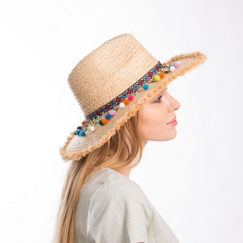 a333d67d Muchique Summer Hats For Women Raffia Sun Hat With Sequins Trim Straw  Panama Fedora With Fray Edge Boho Style Safari Hat Straw Hat Tilley Hats  From ...