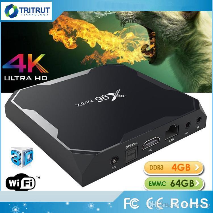 Set Top Box Internet Tv X96 Max Amlogic Android 81 Tv Box S905x2 4