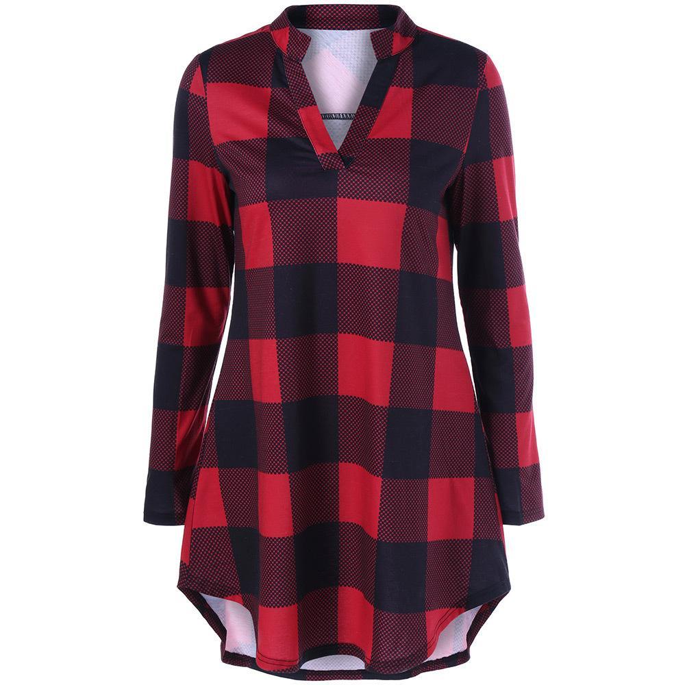 af83d5cbbc Compre Gamiss Xadrez Casuais Mulheres Tshirts Vermelho Cheque Preto Estilo  Namorado Camisas De Manga Longa Camisa Solta Tops Outono Plus Size 5XL  S18100903 ...
