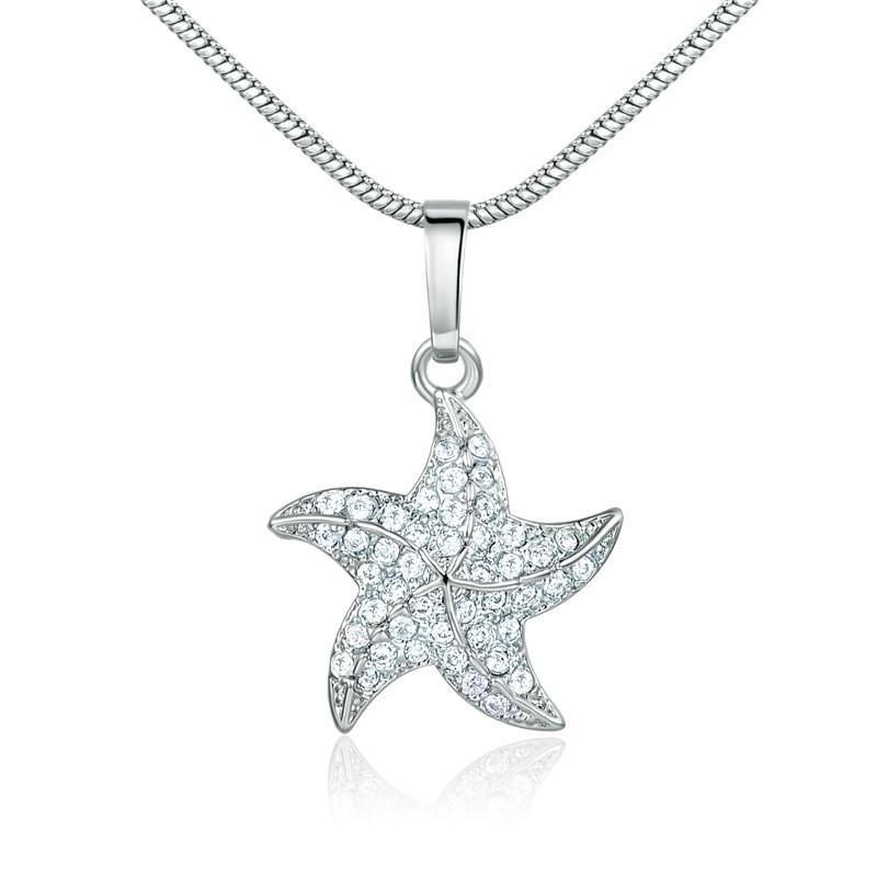790e4ba6c020 Compre Ashion Joyas Colgantes GULICX Colgantes Lindos De La Diapositiva De  La Estrella De Mar Collares Para Las Mujeres Oro Color Cristal Blanco Cubic  ...