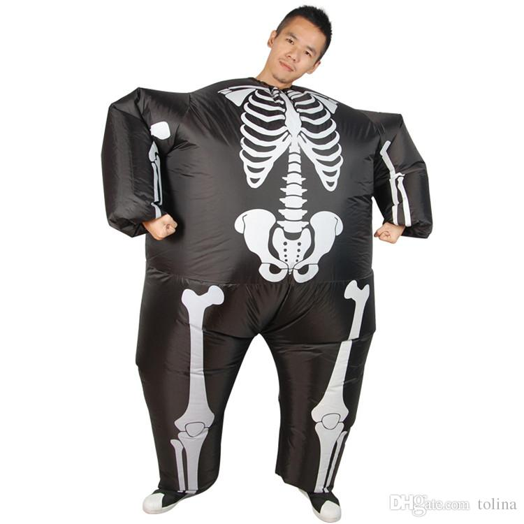 Grim Reaper Scary Halloween Skeleton Skull Inflatable Costumes Illusion Suit Blow Up Suit Horror Skeleton 3D Halloween Costumes